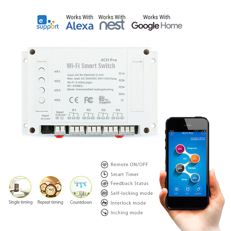 4CH Pro WiFi RF Wireless Smart Switch with Amazon Alexa, Google Assistant, IFTTT, Google Nest, - AC86-265V DC5-24V Input