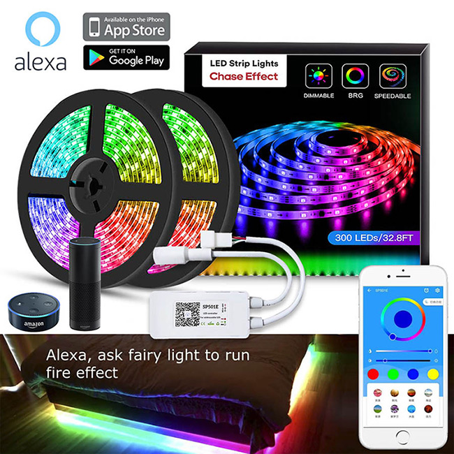 24f4cafe4373 SP501E Color Chasing Alexa LED Strip Light Kit, 32.8Ft/10m Flexible  Waterproof Digital