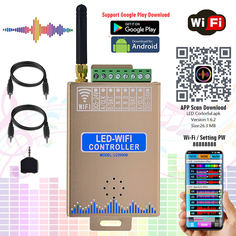 DC5-24V, 2019 Newest LED WIFI SPI Music Spectrum Android Controller